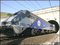 Train going into the Channel Tunnel