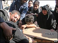 Family members weep over the coffin of a relative killed in the Sadr City bombings