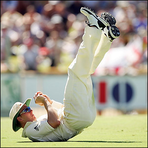 Lee catches Harmison off the bowling of Clark