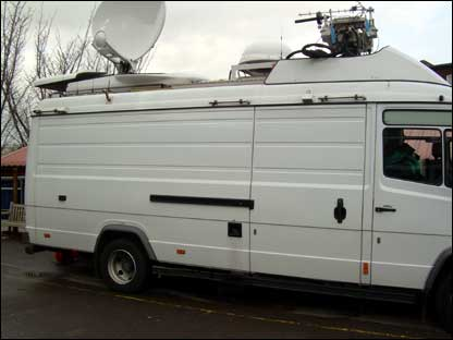 The BBC broadcast truck at Our Lady's Convent High School in London