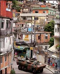 Armoured vehicle in Rio de Janeiro favela