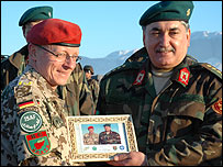 German General Volker Barth (left) and Afghanistan's deputy defence minister