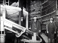 Workers at Hollway Tube station in 1906