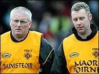 Crossmaglen manager Donal Murtagh and assistant Martin Calliff