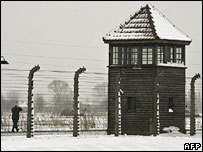 A watchtower at Auschwitz