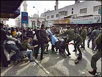 Fighting in the streets of Ramallah
