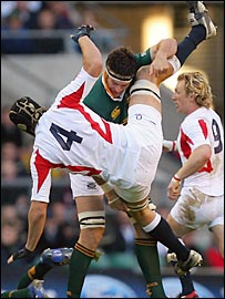 England lock Tom Palmer is upended