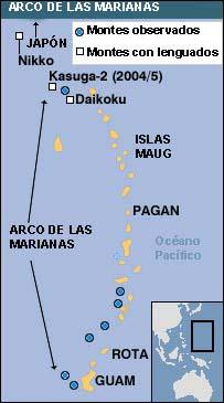 Mapa del arco de las Marianas