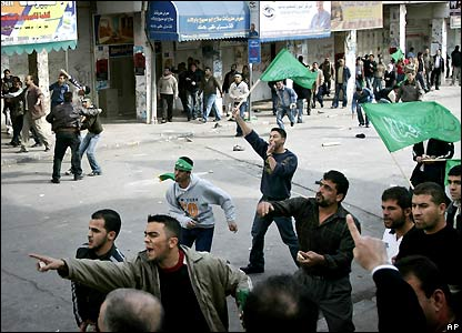 Hamas supporters in Ramallah