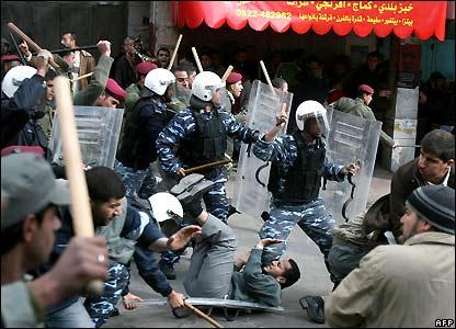 Palestinian riot police in Ramallah