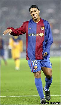 Brazil's Ronaldinho playing for FC Barcelona this month