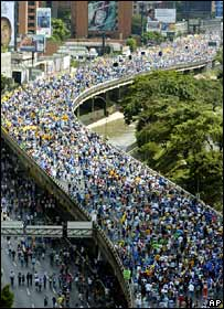 Rosales supporters march in Caracas