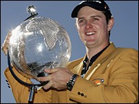 Justin Rose with the Australian Masters trophy