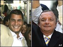 Rafael Correa (izq.) y �lvaro Noboa (der.)