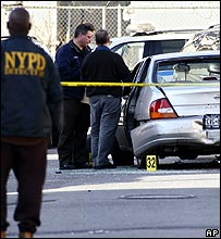 New York police officers at the crime scene