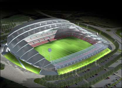 Salford's spectacular new stadium will cost �35m and should be ready in time for the start of the 2009 season