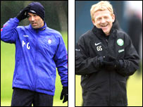 Rangers manager Paul Le Guen and Celtic boss Gordon Strachan