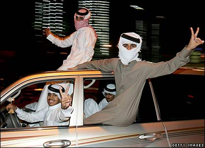 Qataris celebrate after Asian Games football final