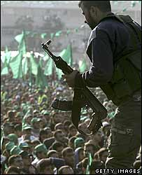 Hamas fighter at a Gaza City rally