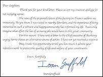 The letter written by Ioan Gruffudd
