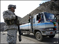 US soldier at Afghan checkpoint