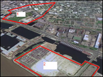 Aerial view of Liverpool waterfront from Google Earth - Paradise Project (1) and King's Dock Arena (2)