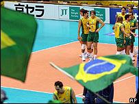 Brasile�os celebran el triunfo sobre los checos.