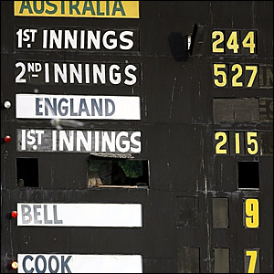 The Perth scoreboard at the close of the third day's play
