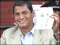 Rafael Correa, candidato a la presidencia de Ecuador.