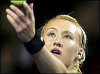 Elena Baltacha in action in Aberdeen