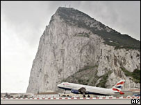 A British Airways flight takes off from Gibraltar bound for Madrid