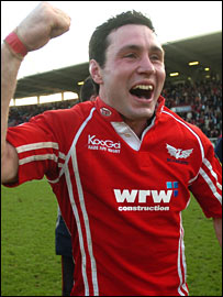 Scarlets fly-half Stephen Jones celebrates beating Toulouse