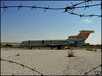 A destroyed Cyprus Airways plane in the UN buffer zone in Cyprus