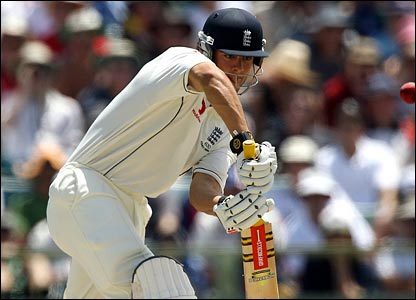 Alastair Cook blocks another ball