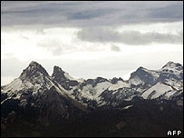 Image taken 8 December shows the French Alps with little snow