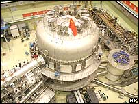Part of an experimental fusion reactor in China