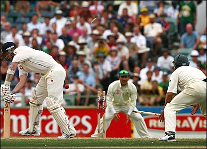 Matthew Hoggard is bowled out by Glenn McGrath