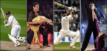 Mark Ramprakash on the pitch, and dancing with and Karen Hardy