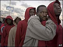 African migrants wait in Tenerife, in the Canary Islands