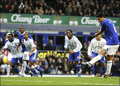 Mikel Arteta scores a penalty for Everton