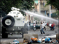 An armoured vehicle mounted with a water cannon in Turkey