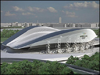 Artist's impression of the revised version of the 2012 Olympics aquatics centre