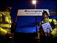 Police at Manningtree railway station
