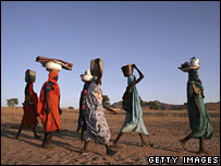 Displaced women walk to draw water from a well in eastern Chad on 17 November 2006