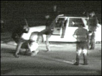 Still from George Holliday's footage of Rodney King being beaten