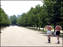 Joggers in Regents Park, BBC