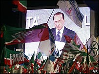 Silvio Berlusconi at a political rally in December