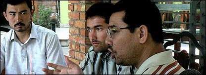 Former Guantanamo Bay detainees, from left - Ahmed Adil, Adil Abdul Hakim and Abu Bakr Qassim