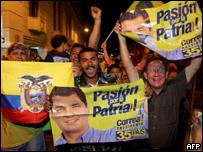 Partidarios de Correa celebran