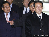 North Korean envoy Kim Kye-gwan (right) and his delegation on 18 December 2006
